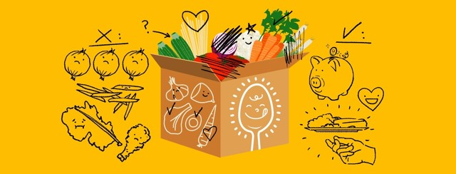 A picture of a meal kit delivery box bursting with food is drawn over with items circled, scratched out, hearted, and otherwise modified to show someone's dissatisfactions and things they liked about the box.