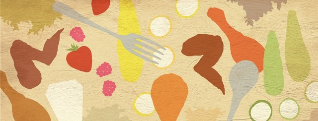 """A variety of """"safe foods"""" are scattered about: zucchini, yellow squash, strawberries, raspberries, chicken, rice."""