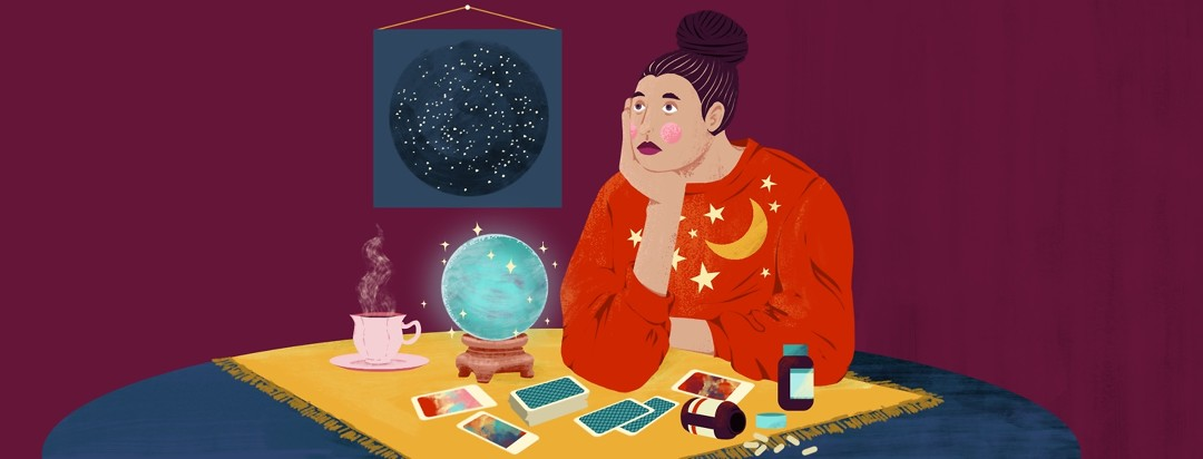 A defeated and worried woman sits at a table with her chin in her hand. On the table is a crystal ball, scattered tarot cards, and spilled bottles of probiotics. Behind her on the wall is a start chart.
