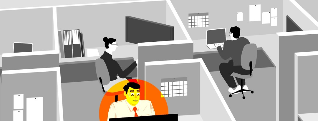 People sit in cubicles working in a grayscale office setting, except for one man who is highlighted in a neon orange spotlight. He looks anxious and is sweating.