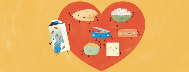 A group of happy foods including a baked chicken breast, a bowl of rice, a can of tuna, a sandwich, a bowl of oatmeal, and a saltine cracker welcome a walking, smiling carton of almond milk into the heart shape where they are all arranged.