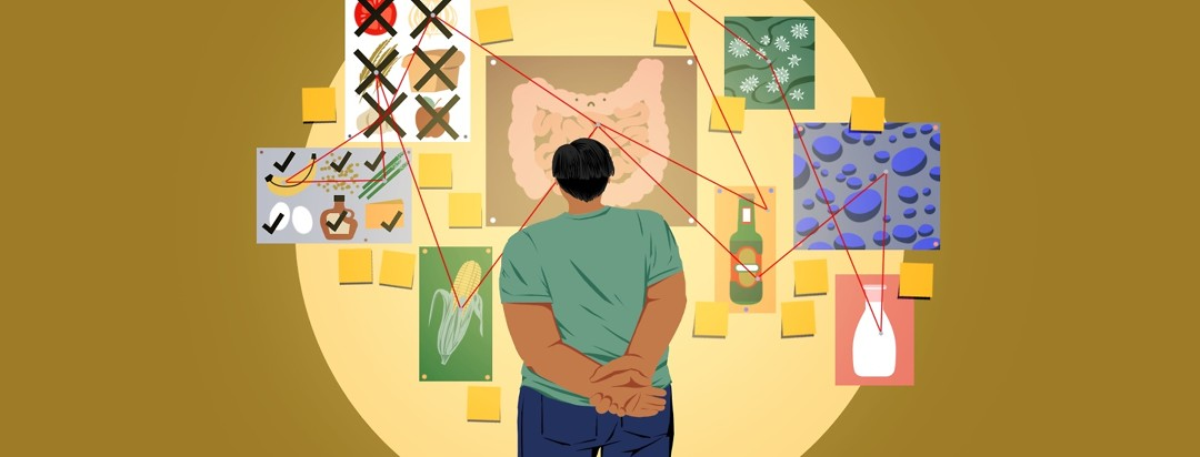 A person stands looking at a board with images of food, bacteria, and a GI tract with restring strung from one image to another in an attempt to connect all the images.