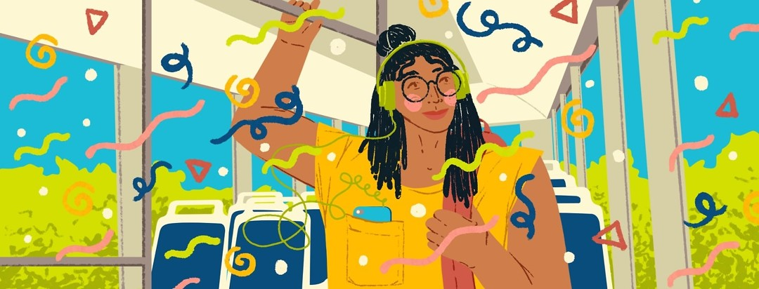 A woman stands in a city bus, holding the upper railing and listening to music on her headphones as fun and happy shapes swirl around her.