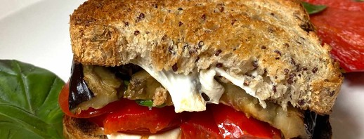 Roasted Eggplant, Mozzarella, & Red Pepper Sandwich image