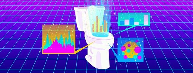A toilet, against a techy, futuristic, backdrop, displays statistics and graphs.