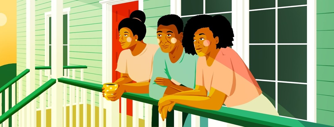 A family leans on a porch railing, looking out from their house to the sunrise.
