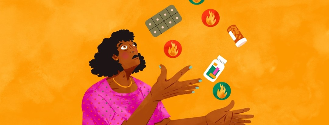A woman looking very anxious, juggling balls with an image of a flare on them, as well as different types of medication.
