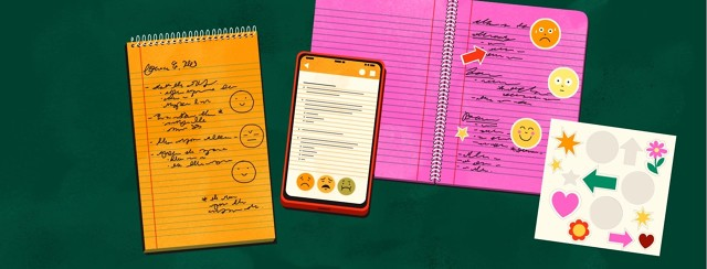 A yellow pad of paper, a pink notebook, and a smartphone with the Notes app open all have notes and emojis written or typed on them. The pink notebook also has stickers stuck onto its pages.
