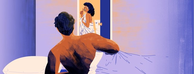 """A shirtless man partially under the covers props himself up on his elbow in bed, facing a woman wrapped in a sheet who is smiling but also looking panicked and holding up a finger to say """"just a minute"""" as she backs into the bathroom."""