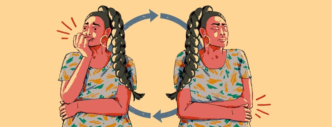 A woman is nervously biting her nails. The same woman in also shown with her eyes closed, holding her stomach. Behind both figures are two arrows showing a cyclical effect.
