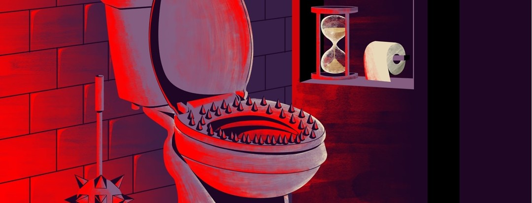 A bathroom illuminated by a sinister red light reveals a mace in place of a toilet brush, a toilet with a spiked seat, and an hourglass.