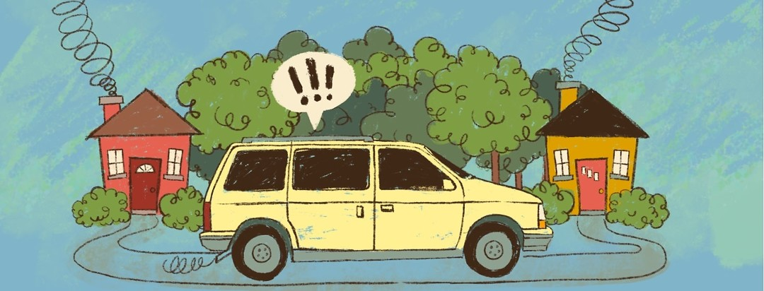 A van travels a short distance between two houses, through the woods. A speech bubble with exclamation marks is coming from the backseat.