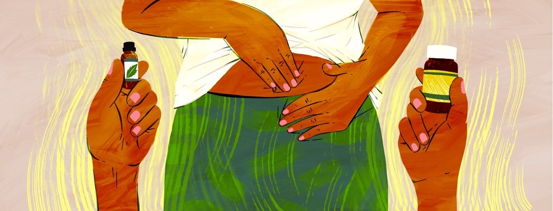 A hand holds up a vial of peppermint oil, another hand holds up a bottle of probiotics, and in between a person is massaging their stomach.