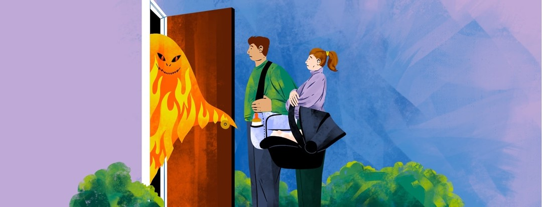 A young couple carrying a diaper bag and a baby obscured by a carrier are greeted at their front door by a fiery flare monster.