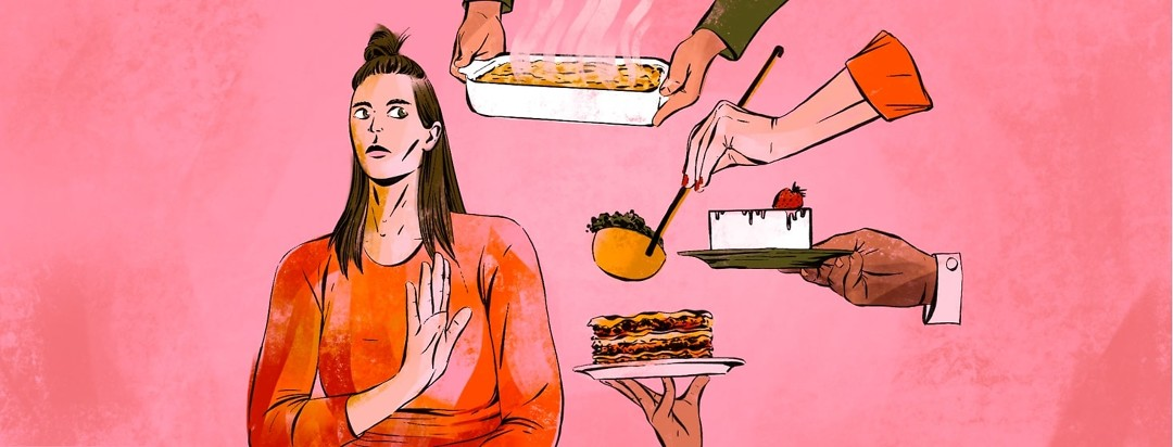 A woman firmly refuses offerings of different foods by giving a stern look and putting up a hand.