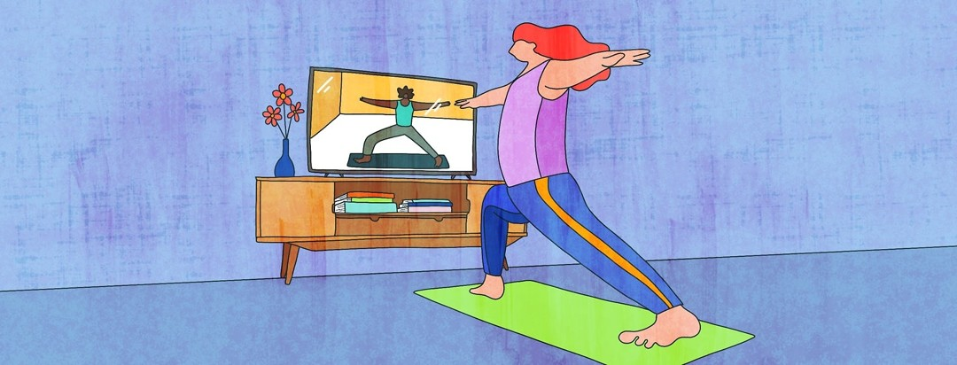 A woman practices yoga in her living room in front of a guided video on her television.