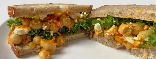 Gluten-Free Buffalo Chickpea Salad Sandwich with Feta image