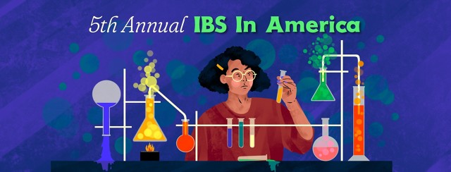 """A woman stands among various science lab equipment, some of which is overturned and spilling its contents on the table. The woman is holding up a test tube, looking at it suspiciously. Text reads """"5th Annual IBS In America"""""""
