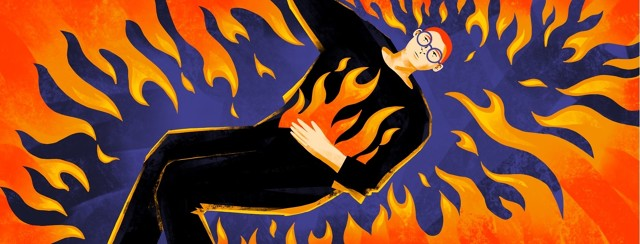 A person with flames in their belly is also surrounded by flames.