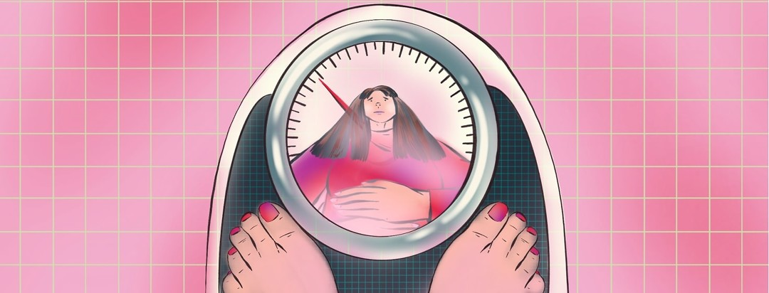 A woman's reflection is shown in the glass over a dial on a scale. She appears upset and is holding her stomach. The number on the dial indicates lower weight and/or weight loss.