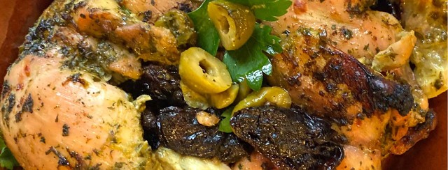 Sheet Pan Lemon Parsley Chicken with Olives & Prunes image