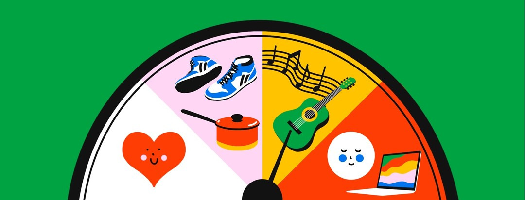 A dial shows items contains within different levels, represented by color. The white level has a happy heart shape, the pink level contains a pair of walking shoes and a saucepan, the yellow level has a guitar and musical notes, and the red level contains a laptop and a meditating face.