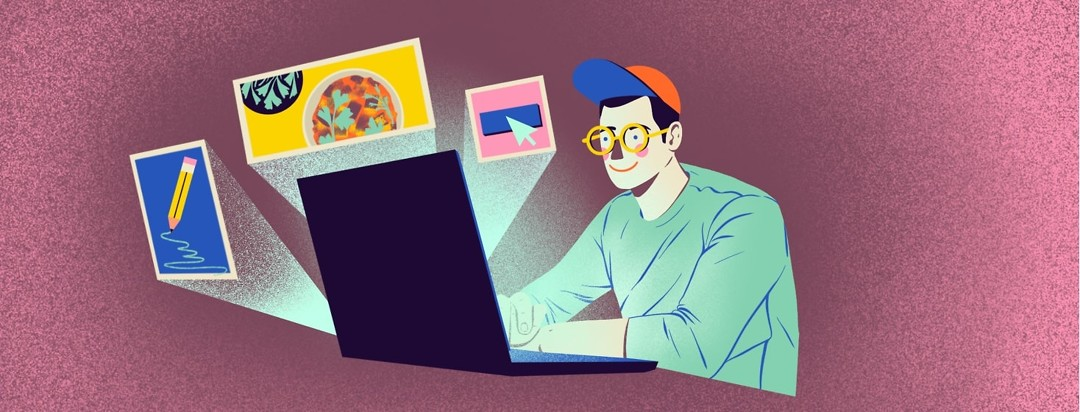 A person smiles as he looks at a laptop, which is emitting glowing imagery of a pencil writing, brightly colored food, and a mouse clicking on a button.
