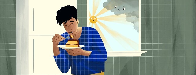A woman eating a bite of cake looks cautiously over her shoulder at window that shows a sun that is looking scared of an approaching smiling, evil cloud.