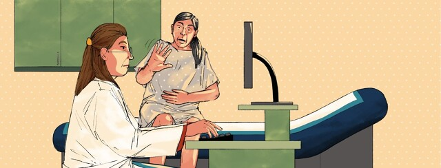 A bored-looking doctor is focused on typing on a computer while a patient wearing a hospital gown with their hand over their stomach in pain is trying to get her attention with no success.