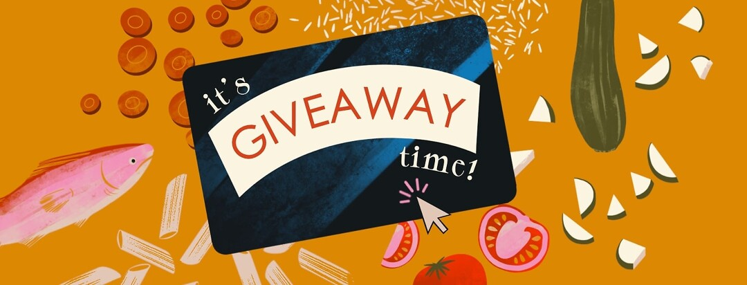 """A giftcard with a mouse cursor clicking on it floats above an array of healthy foods scattered below. The text on the card reads: it's giveaway time!"""""""