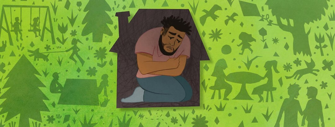 Adult male crouching in tiny house. He is sad. Surrounding him are silhouettes of people having fun outside.