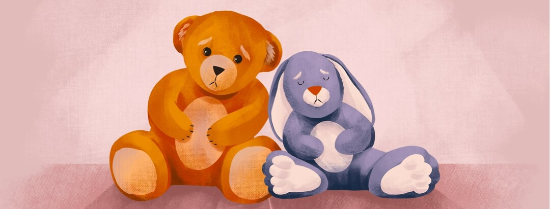alt=Two sad stuffed animals hold their stomachs and lean against each other.
