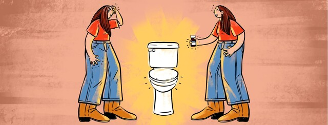 alt=two versions of the same woman face each other with a toilet between them. The woman are in a standoff, looking distressed.