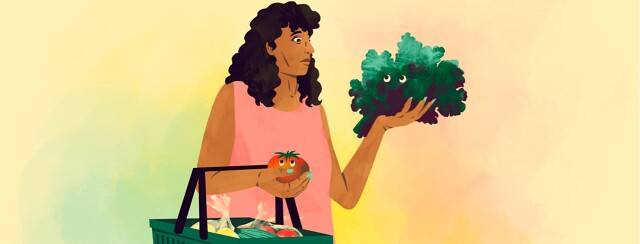alt=a woman holding a grocery basket looks nervously at lettuce she is holding in her hand. The lettuce and a tomato look back at her.