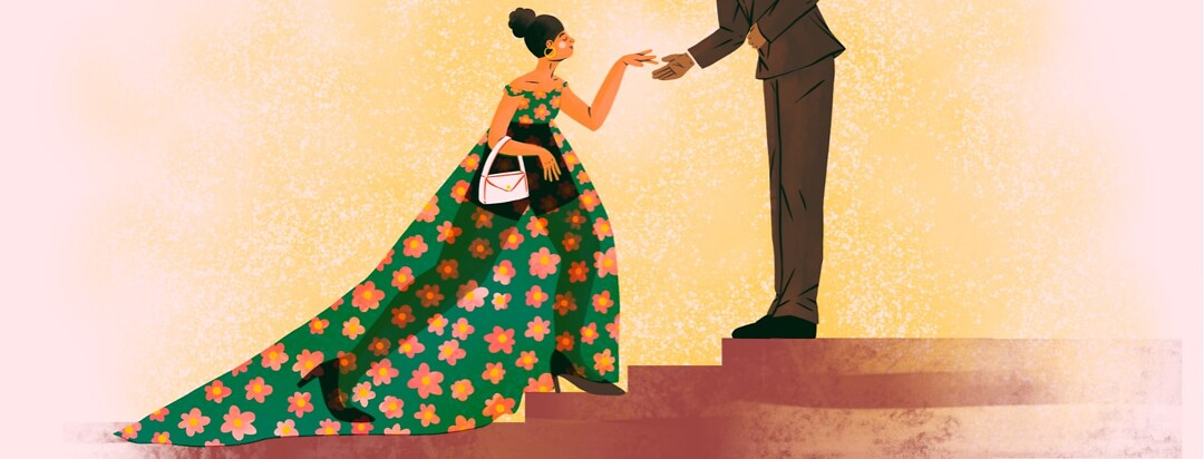 alt=A woman wearing a formal gown extends her hand to a man in a suit, who is extending his hand. The woman carries a small bag and her dress is translucent to reveal her wearing shorts underneath.