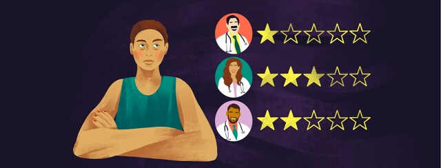 =alt apathetic woman next to doctor profiles with a range of star ratings beside each profile.