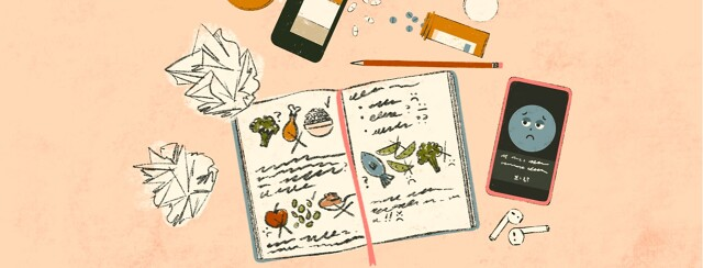 alt=an open journal with drawings of foods and notes is in the middle of crumpled up papers, a pencil, overturned medicine bottles with pills spilling out, and a phone with an app open on the screen.