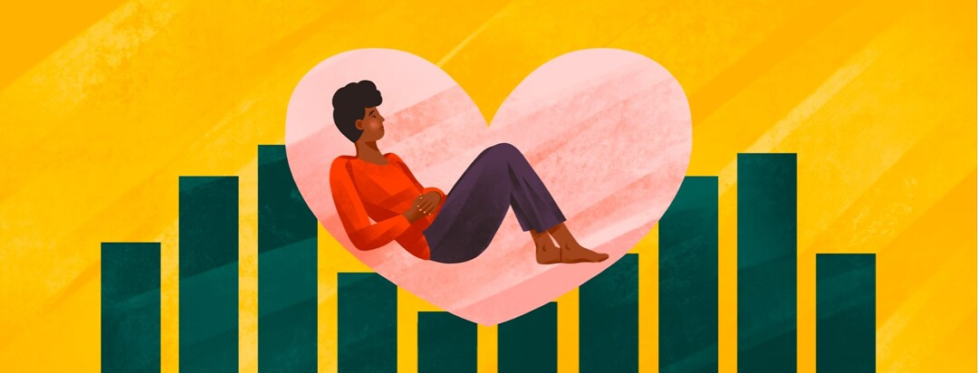 alt=a woman holding her stomach rests inside a heart shape supported by the columns of a bar graph.