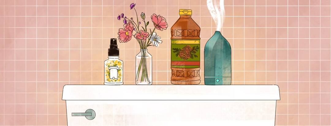 alt=various fresh-smell products including air freshener, flowers, Pine-Sol and an essential oil diffuser sit atop a toilet in a bathroom.