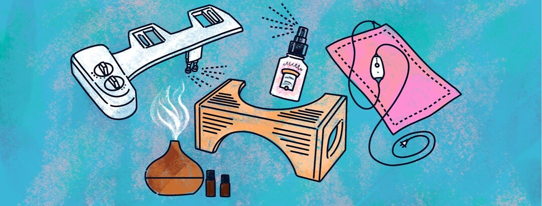 alt=a bidet attachment, air freshener spray, essential oil diffuser, squatty potty, and heating pad