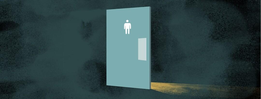 alt=mens bathroom door surrounded by dark background