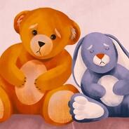 A sad stuffed bear and stuffed rabbit clutching their tummies.