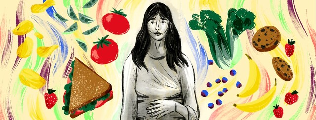 alt=a hungry, sad woman with one hand over her stomach is in black & white, against a colorful background of fresh foods.