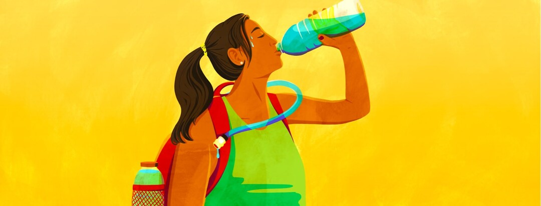 alt=a woman wearing a hydration pack sweats and drinks from a water bottle in the summer heat.
