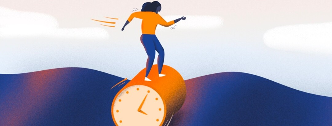 A woman rolling on a clock down a wobbly hill