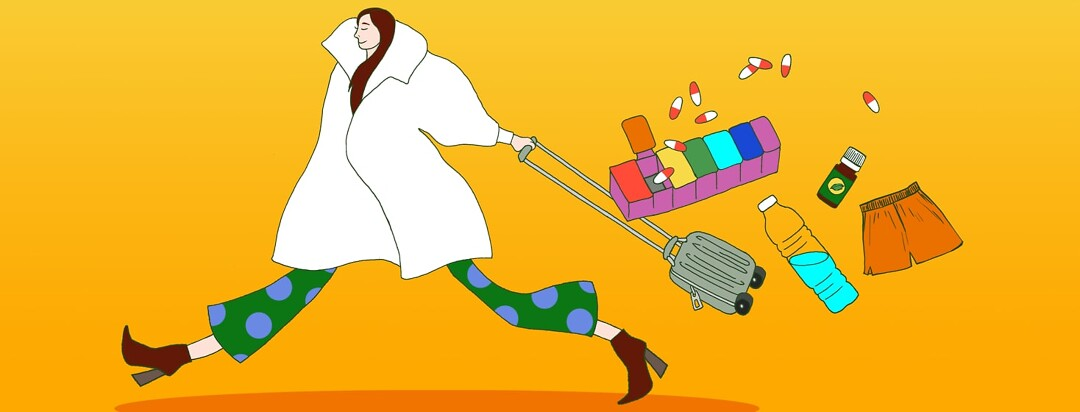 alt=A woman wearing in a coat running while pulling a suitcase. The suitcase is spilling behind her showing pill and a pillbox, water bottle, a pair of shorts, and essential oil.
