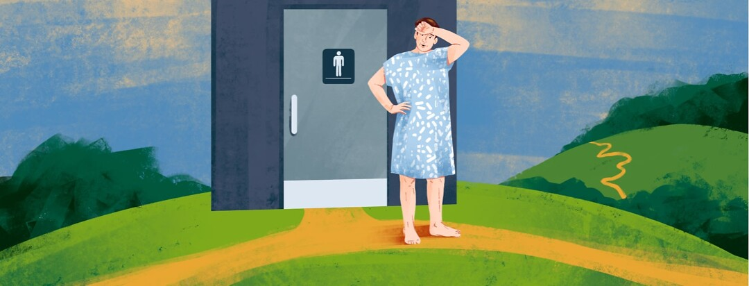 alt=a man in a hospital gown stands looking relieved outside of a men's bathroom on a hill with a path leading from the door and off into the distance.