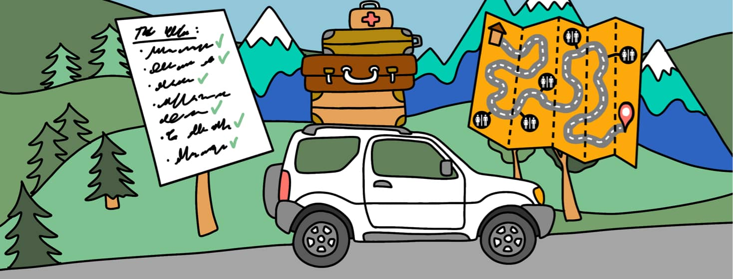 alt=An SUV with luggage packed on the roof with mountains and trees in the background. A checked-off list and map indicating bathrooms along the route frame the car.