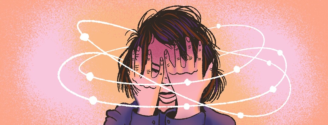 Person with short bob hair covers face in stress as orbits circle around her. Frustration, frustrated, dizziness, anxiety.