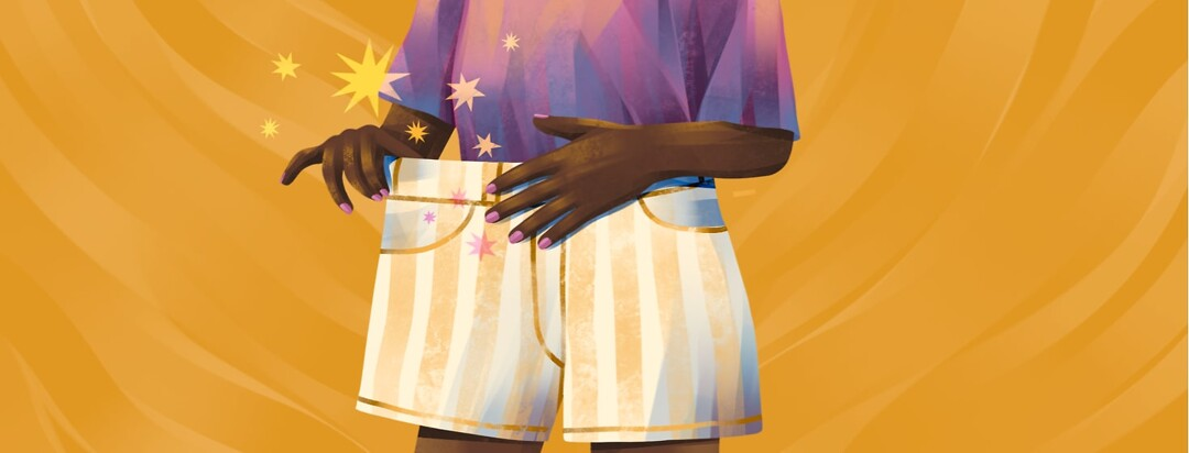 alt=a person pulls the waistband of too-big shorts out to show the gap needed for their sensitive stomach.